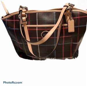 Coach Large Peyton Pocket Tote Brown Plaid